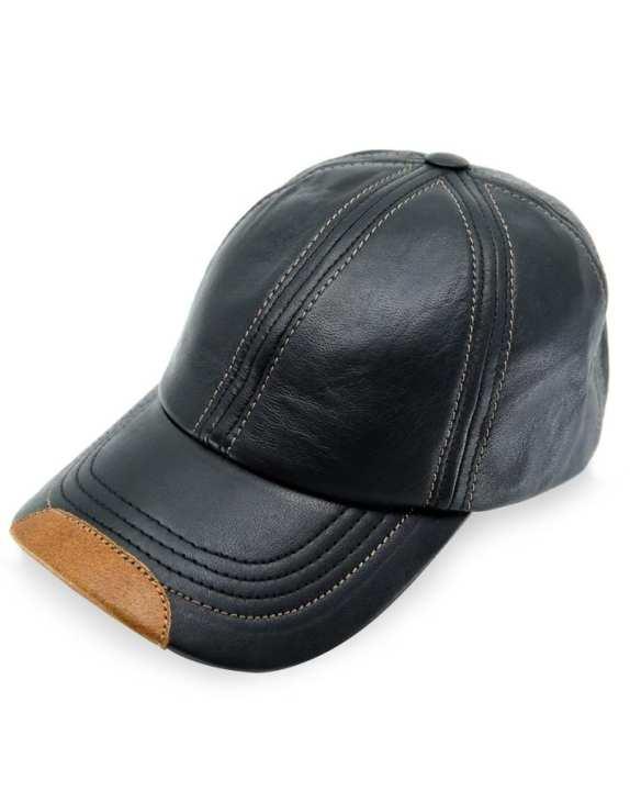 Real Sheepskin Black Leather Baseball Cap