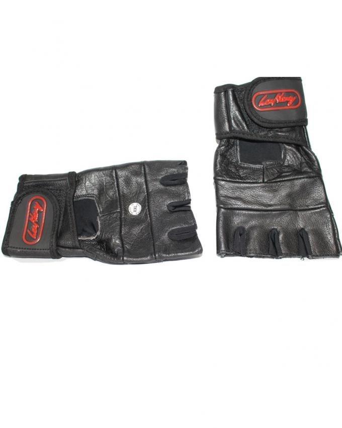 Wrist Wrap Leather Gloves - Black