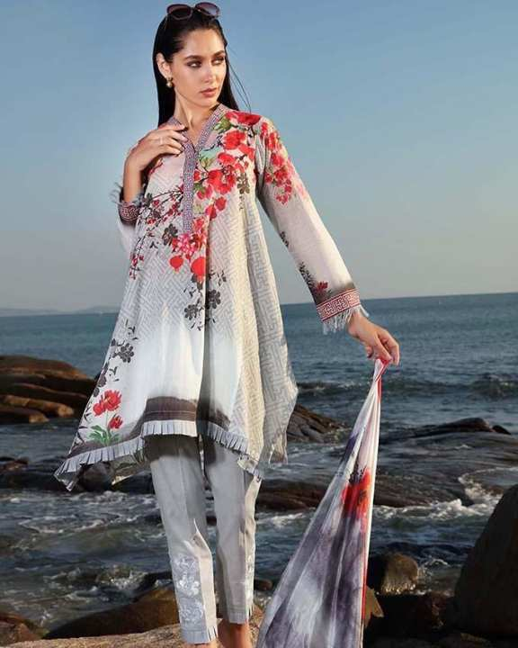 Gul Ahmed - Light Grey Silk with Digital Printed Shirt Embroidered Bunches 3PC-Unstitched -  SS-168-158476