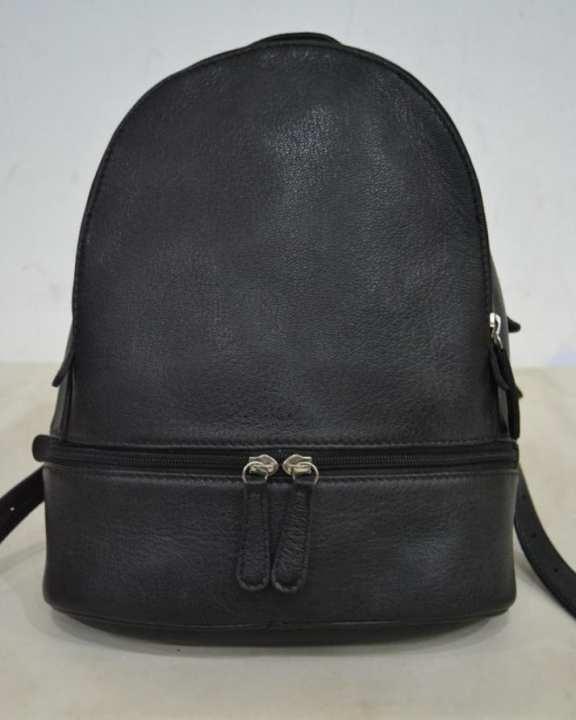 Black Leather Back Pack Bag For Women Bobbie-1