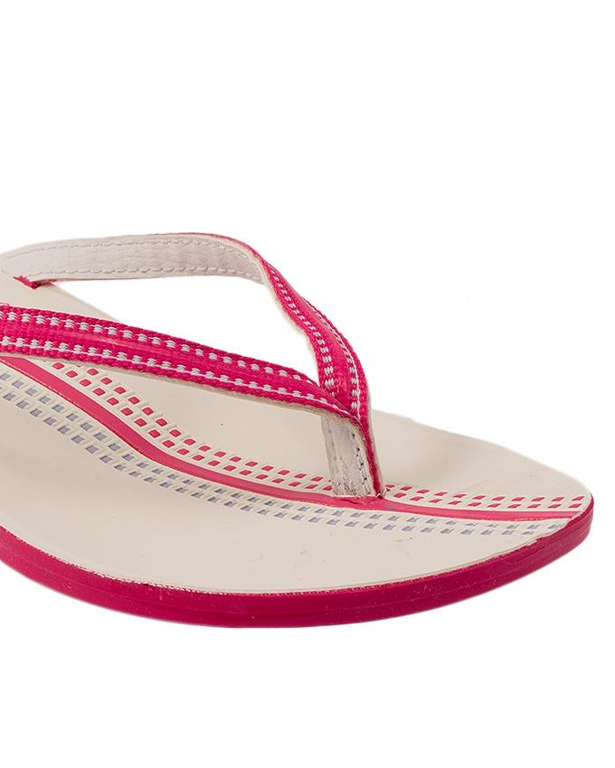 Pink Synthetic Leather Slippers For Women