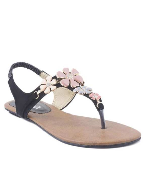 Black Synthetic Leather T-Strap For Women - 3176/200