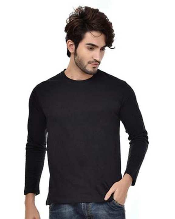 Black Cotton Full Sleeves Round Neck T-Shirt For Men