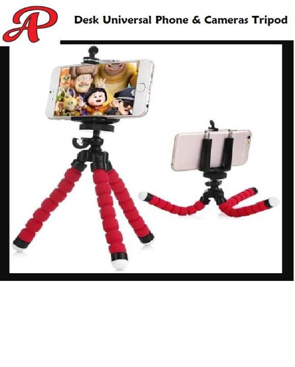 Desk Tripod Flexible Phone Holder For all Mobile phones and Small Cameras RED