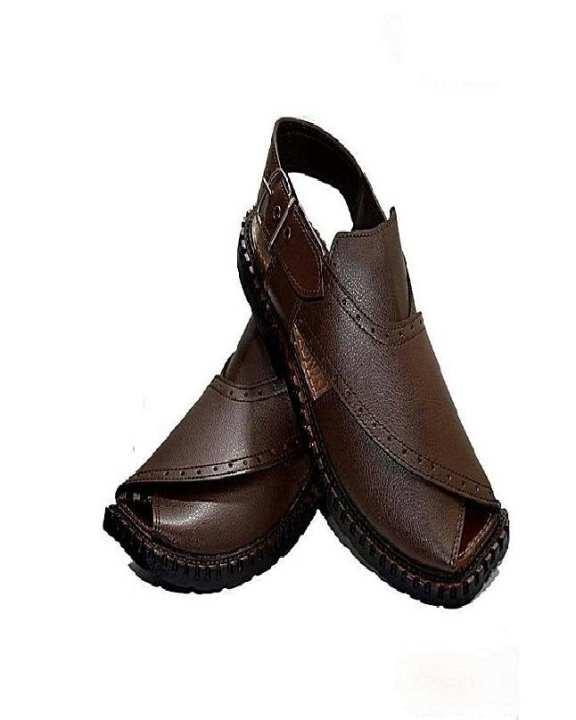 Brown Artificial Leather Peshawari Sandals For Men
