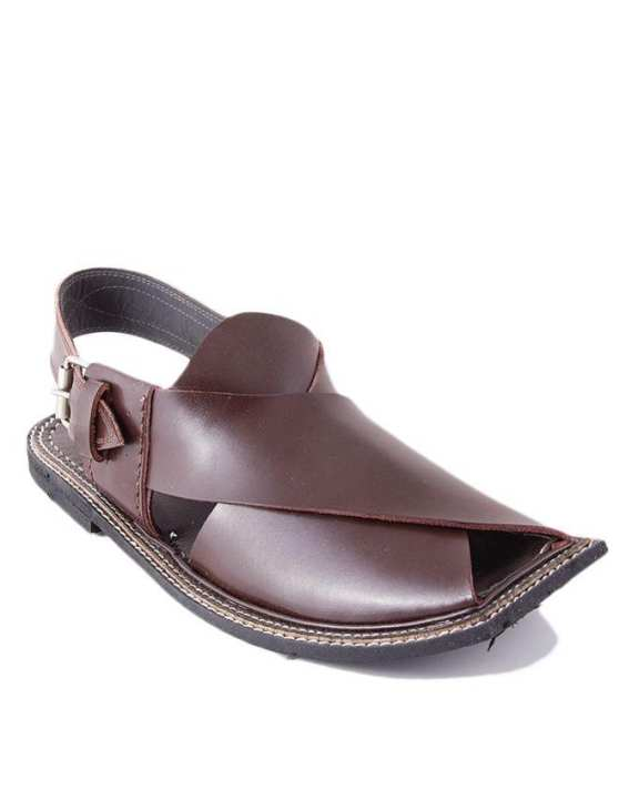 Brown Cow Leather Peshawari Sandals for Men