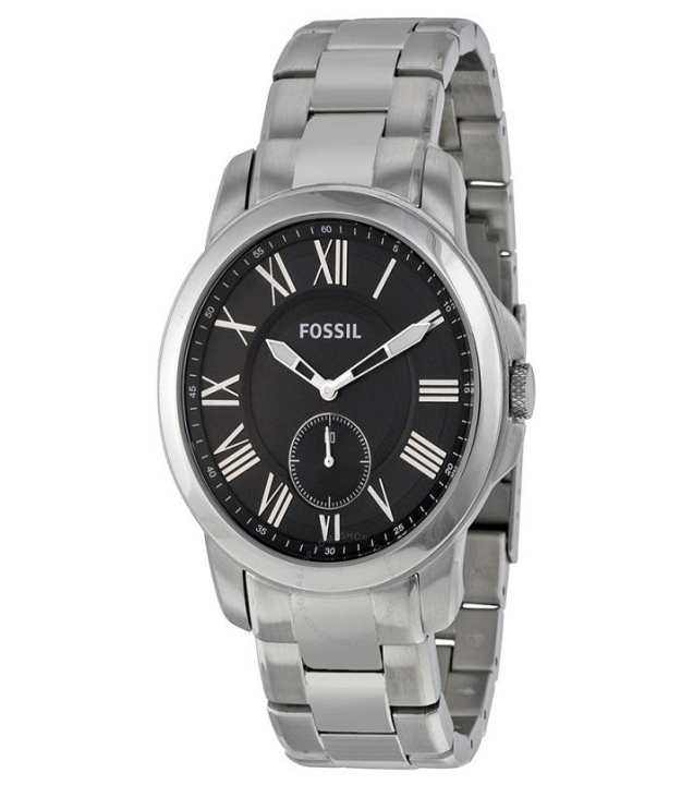 Fossil Grant Silver and Black Stainless steel Analog Watch for Men - FS-4973