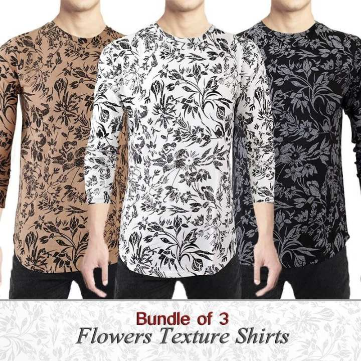 Bundel Of 3 - White Cotton Flower Textured Shirts For Men
