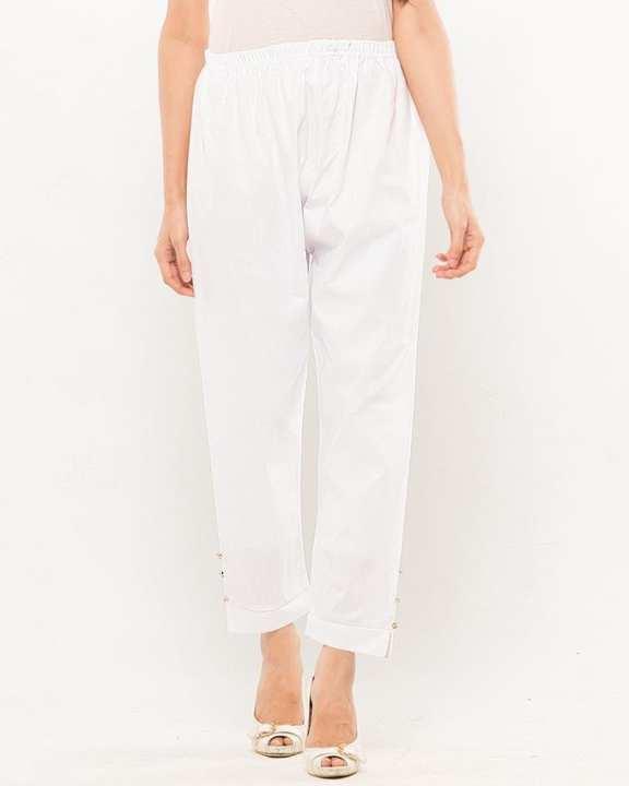 White Cotton Trouser For Women