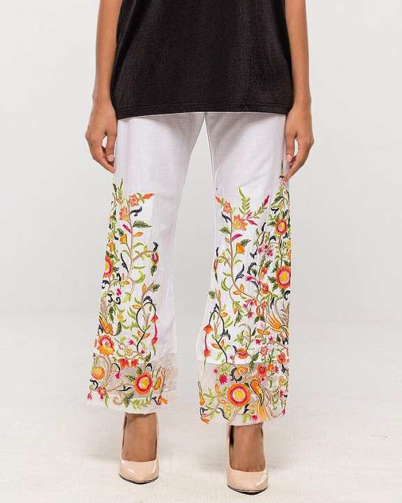 White Multi Embroidered Pants for Women