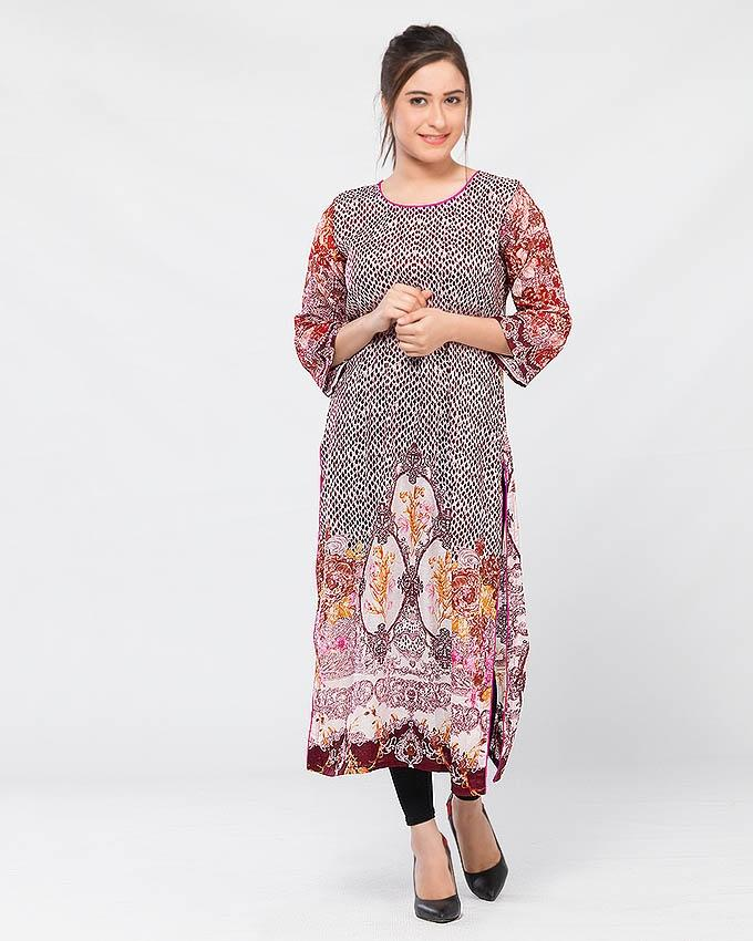 Multicolor Lawn Printed Kurta for Women