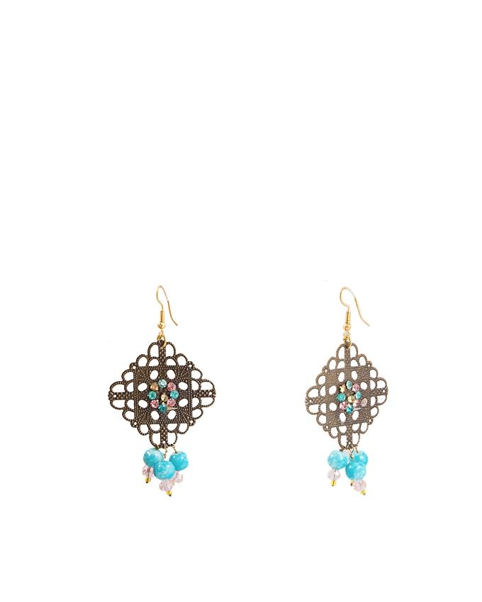 Multi Color Metal Hand Made Necklace & Earring Set for Women - RIZ-NKS-59