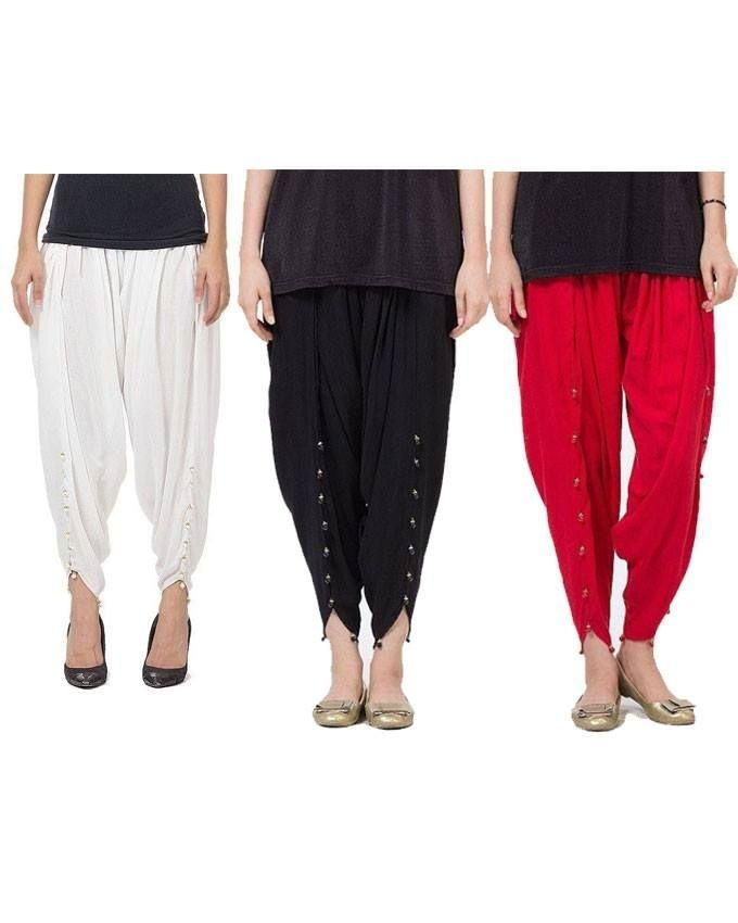 Pack of 3 - Multicolour Boski Tulip Pant With Pearls For Women