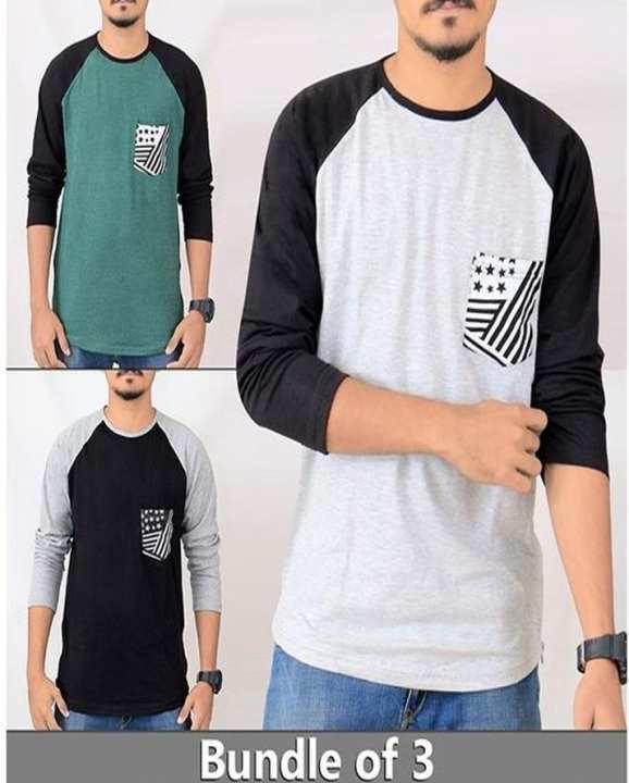 Bundle Of 3 - Front Pocket Full Sleeves T-Shirts For Men