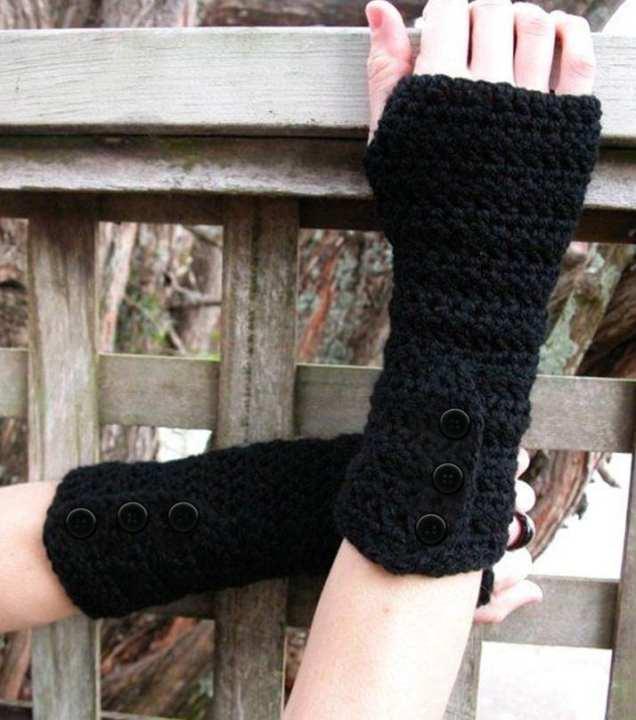 Black Wool Crochet Gloves for Her