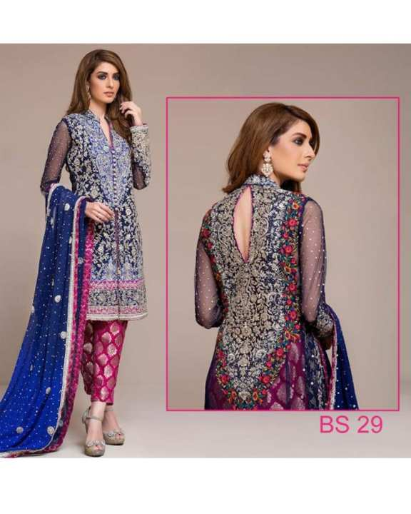 Royal Blue Chiffon Embroidered Suit For Women - 3 Piece - Bs 29