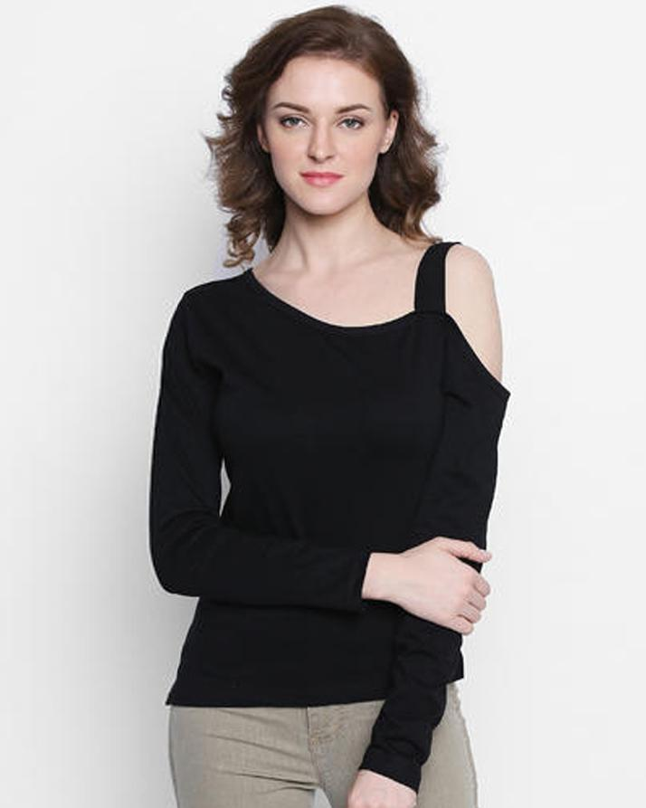 Black One Sided Cold Shoulder Full Sleeves T-shirt For Women