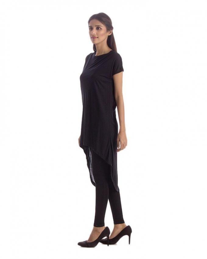 Black Cotton Tunic For Women