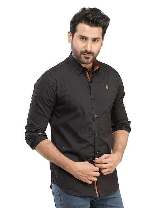Plain Black Cotton Casual Shirts For Men