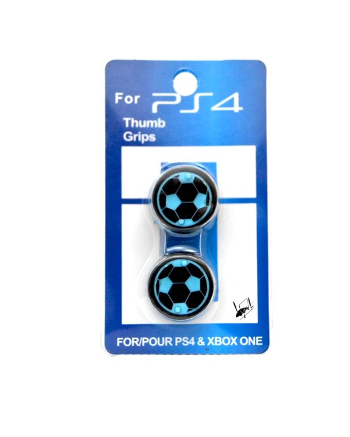Pack of 4 Football Thumb Grips for Xbox 360, Xbox One, PS4 & PS3 - Sky Blue  And Black