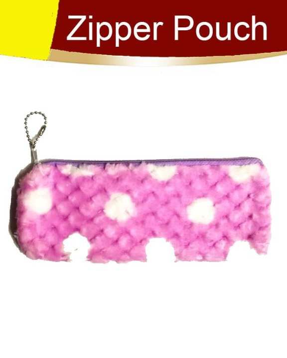 Pack of 1 Fancy Zipper Pouch Purple White Dots