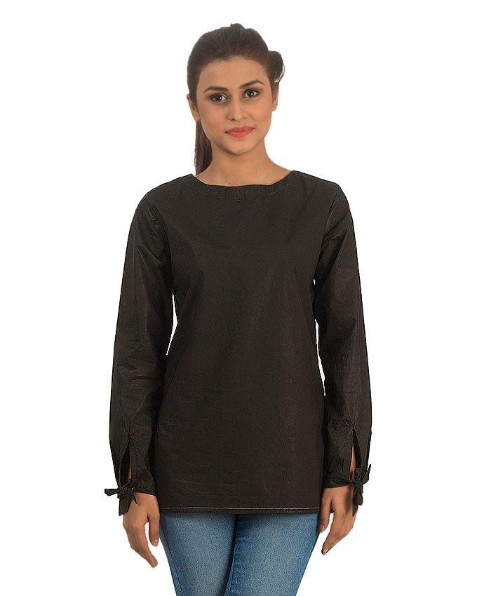 Black Satin Cotton Tunic with Sheen & Tie-up Sleeves & Squre Hem for Women - Comfort-fit -