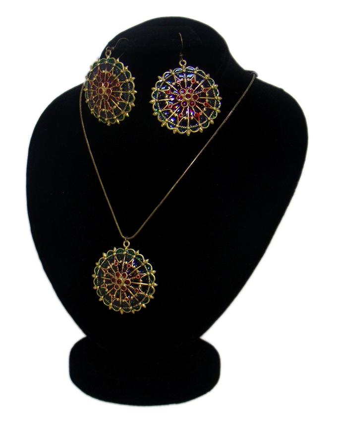 Dull Golden Metal Antique Style Jewelry Set for Women