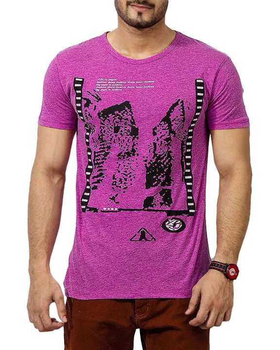 Magenta Cotton Life Is Style Printed T-Shirt For Men