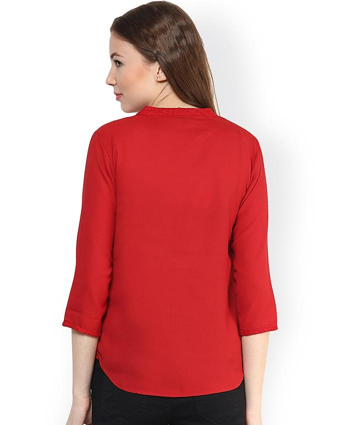 Red Casual Netted Chiffon Top For Women