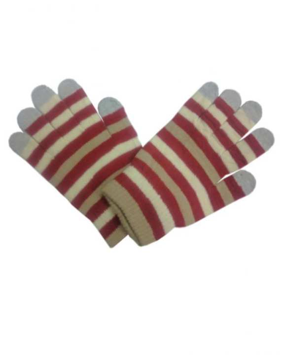 Maroon & Light Brown Wool Gloves For Women - Smart Phone User