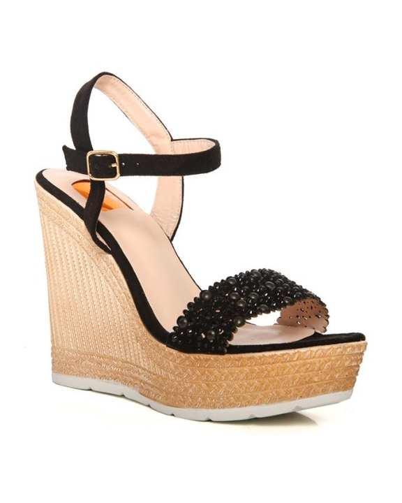 Black Women's 'Markit' Jute Wedge Heel Sandals L29620