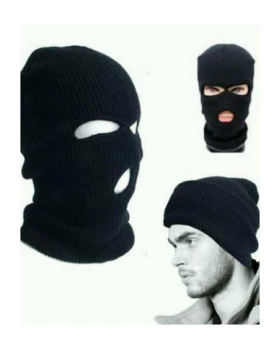Face Cover Cap For Winters - Black