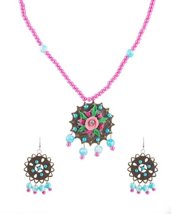 Multi Color Metal Hand Made Necklace & Earring Set for Women - RIZ-NKS-58
