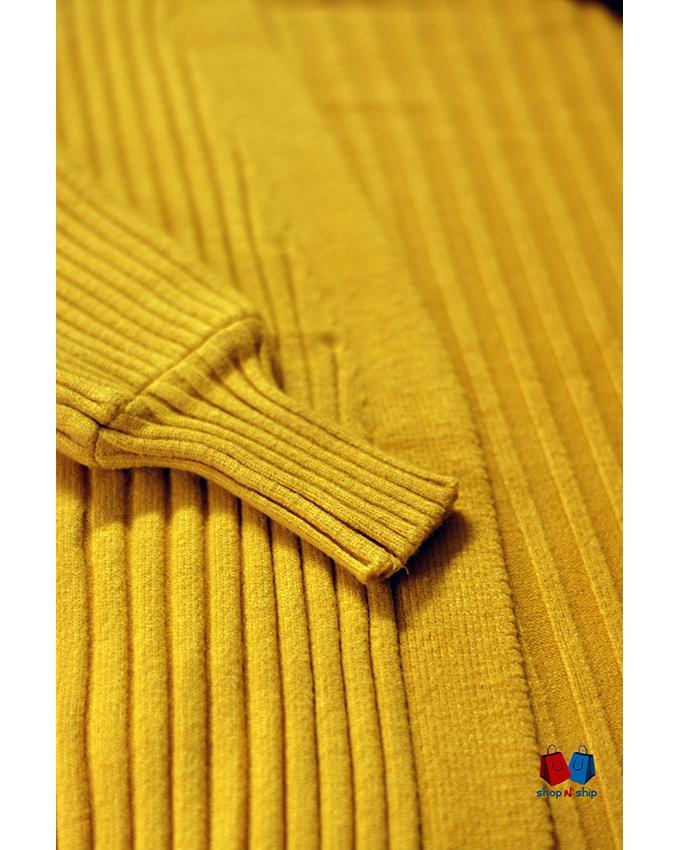 Yellow, Mustard Cotton Cardigan For Women