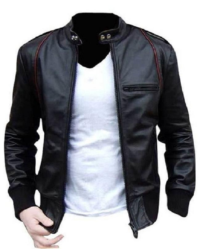 Black PU Leather Slim Fit Jacket for Men