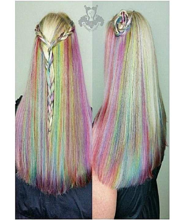 Pack Of 6 Colourful Synthetic Hair Extension Stripes Clip