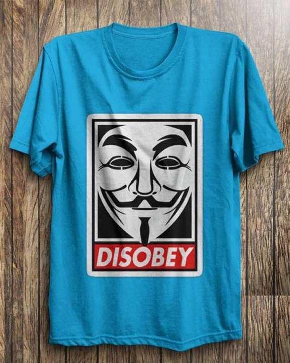 Blue Cotton Vendetta Printed T-Shirt For Men