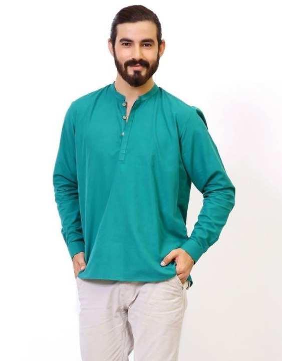 Sea Green Short Kurta For Men