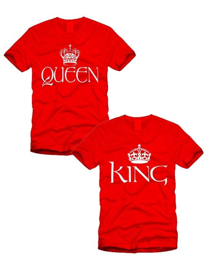 98058c9181a Pack of 2 - Red Cotton King & Queen Couple T-Shirts