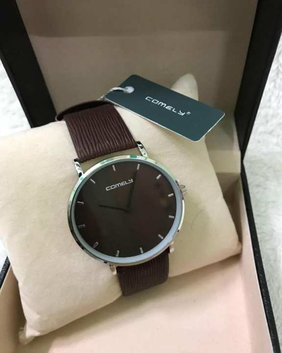 Comely Stainless Steel Dark Brown Dial Leather Band Watch for Men