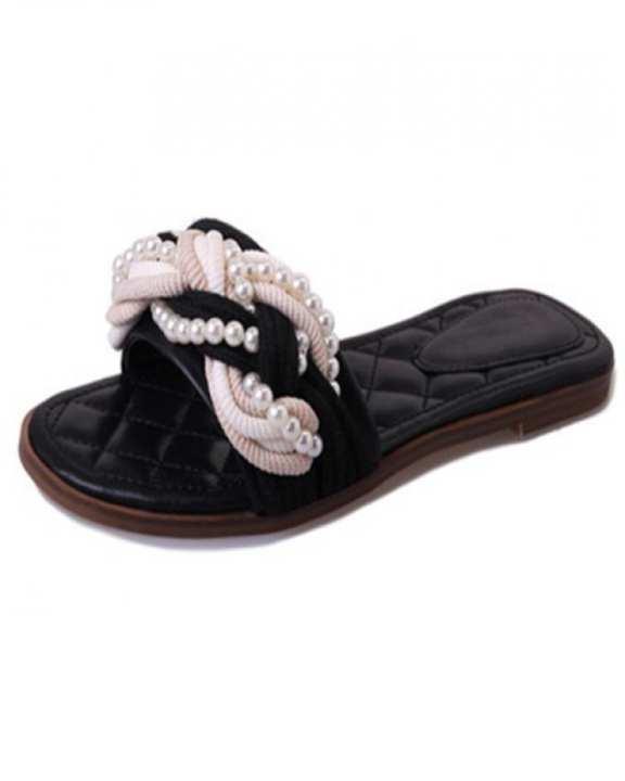 Black Crochet Slide Shoes For Women