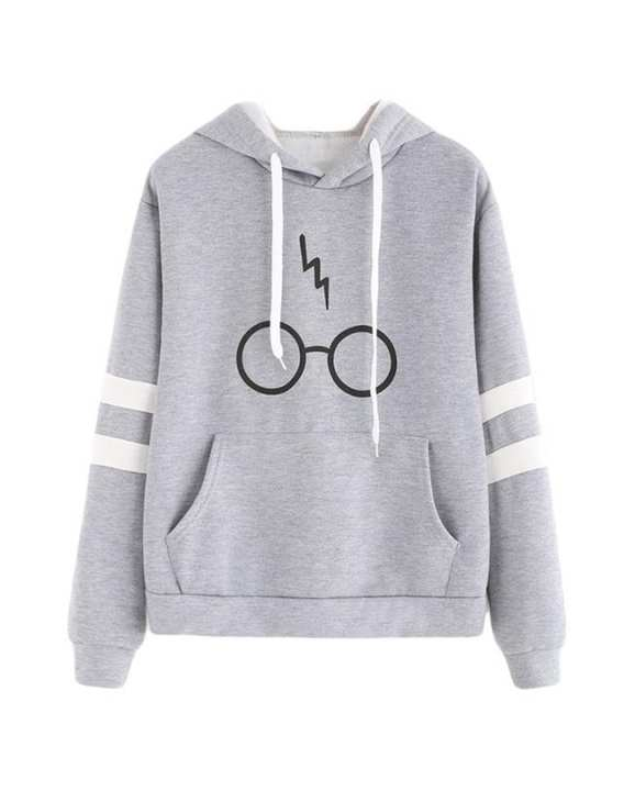 Grey Harry Potter Printed Hoodie For Women