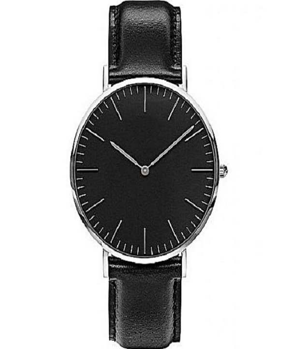 Black Leather Strap Watch For Unisex
