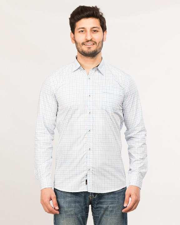 Light Blue Men's Long Sleeve Checkeredshirt