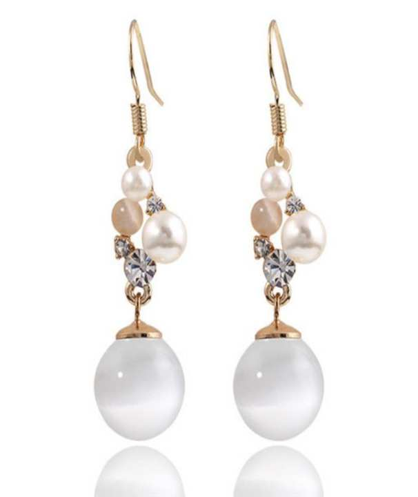 White & Golden Alloy Earrings for Women