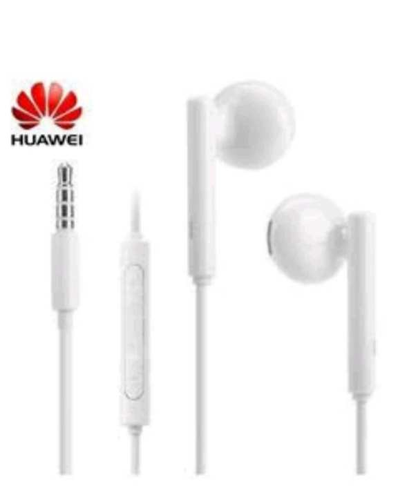 Earphone Half In-Ear Headphones with Remote Wire Control and Microphone - White