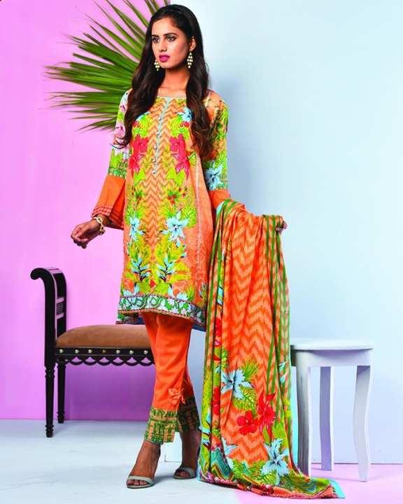 Orange Printed 3Pcs- Unstitched  Lawn For Women