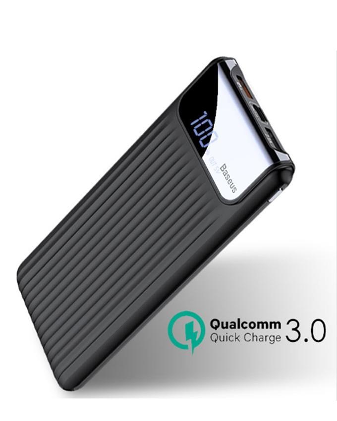 10000mAh Qualcomm QC3.0 Thin Fast Charging Power Bank Digital Display- Black
