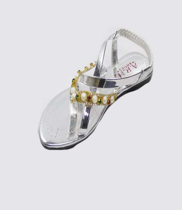 Silver Color Synthetic Sandal For Girls - 206-50621