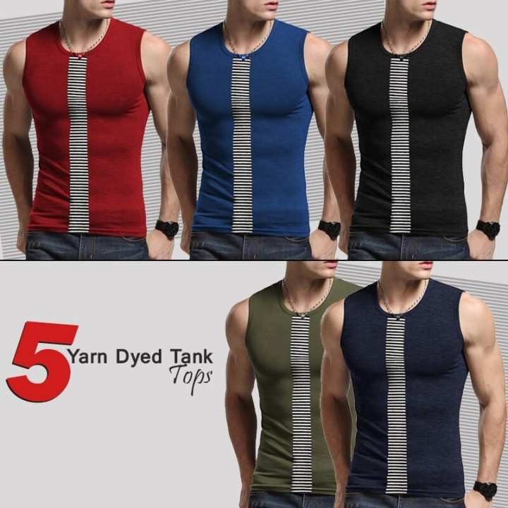Pack of 5 – Multicolor Cotton Yarn Dyed Tank Tops For Men